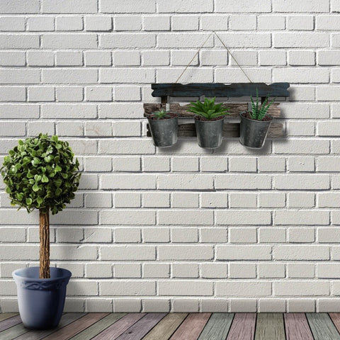 Image of Triple Wall Planter Handcrafted of Reclaimed Barnwood - Indoor Decor/Outdoor Use with Plant Holders - Farmhouse World