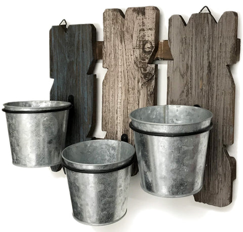 Triple Wall Planter Reclaimed Barnwood with Plant Holders - Farmhouse World