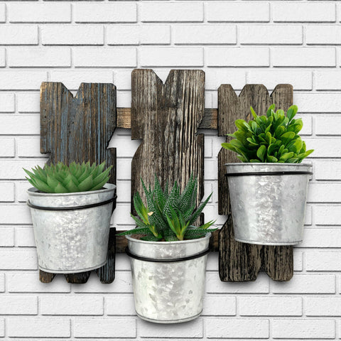 Image of Triple Wall Planter Reclaimed Barnwood - Farmhouse World