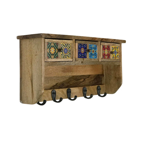 Image of Wall Organizer with Hand-painted Ceramic Tiles Inlaid Drawers with 5 Hooks - Mango Wood - Farmhouse World