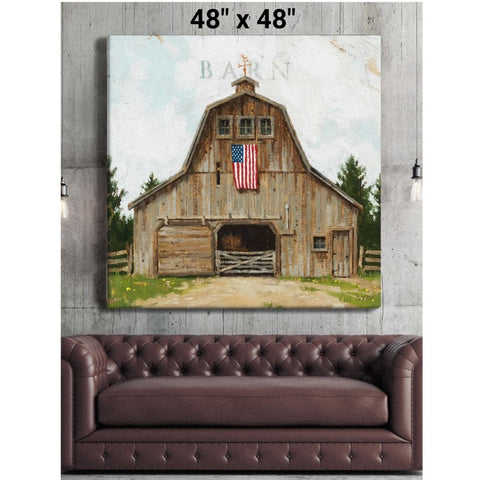 "Wood Barn with American Flag Gallery Wrapped Canvas Art - 5"" to 48"" Sizes - Farmhouse World"