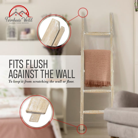 Wooden Rustic Blanket Ladder | Decorative Rustic Quilt Rack with White-Washed Finish 5ft - Handcrafted - Farmhouse World