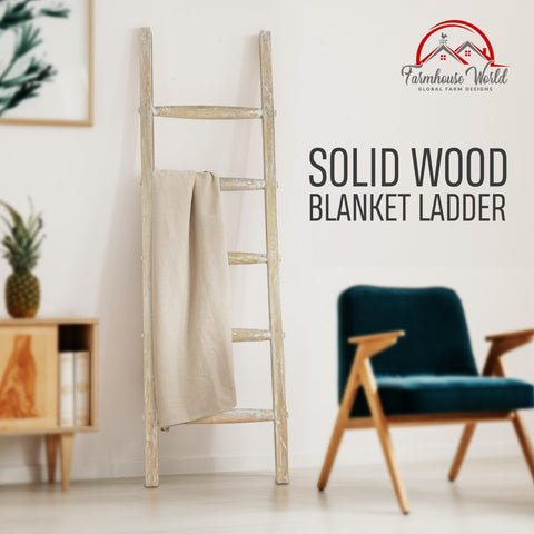 Image of Wooden Rustic Blanket Ladder | Decorative Rustic Quilt Rack with White-Washed Finish 5ft - Handcrafted - Farmhouse World