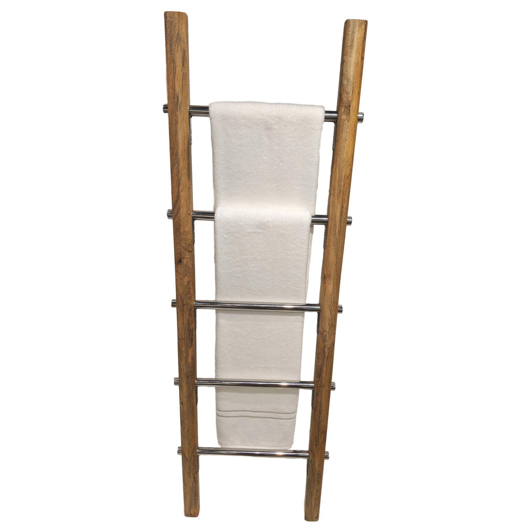 Wooden Towel Ladder with Stainless Steel Metal Rungs for Bathroom in Modern Farmhouse Style 5 ft - Farmhouse World