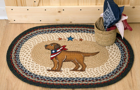 Image of Yellow Lab Dog Patriotic Kitchen Rug - Handwoven with 100% Natural Jute and Hand Stenciled - Farmhouse World