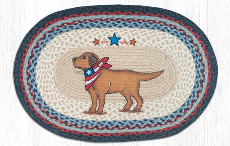 Yellow Lab Dog Patriotic Kitchen Rug - Handwoven with 100% Natural Jute and Hand Stenciled - Farmhouse World