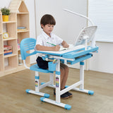 Kid's Desk and Chair Set with Lamp and Book Holder