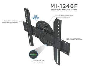 Mount-It! TV Wall Mount With Full 360 Degree Rotation, Fits 32-60 Inch Screens – MI-1246F