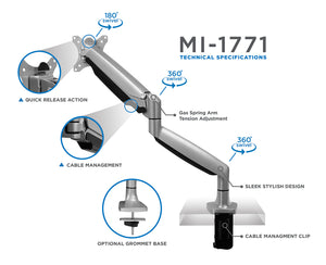 Mount-It! Gas Spring Single Monitor Desk Mount - MI-1771 - Mount-It!