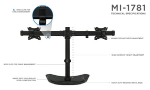 Mount-It! Freestanding Dual Monitor Desk Stand - MI-1781 - Mount-It!