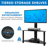 Height Adjustable TV Floor Stand with Mount | 2 Tempered Glass Shelves | MI-1860