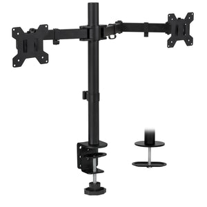"Full Motion Dual Monitor Desk Mount, Fits 32"" Monitors 