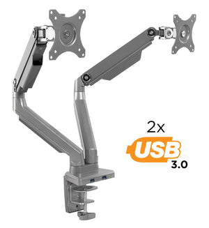 Dual Monitor Desk Mount w/ USB Ports | MI-2762