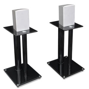 Mount-It! Premium Aluminum Glass Speaker Stands (pair) - Black - MI-28B - Mount-It!