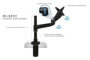 Mount-It! Full Motion Single Monitor Arm, Fits 13-30 Inch Screens, Black - MI-33111B