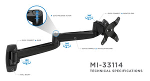 Mount-It! Multi-jointed Monitor Mount - MI-33114-BLK - Mount-It!
