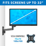 Height Adjustable Single Monitor Wall Mount | MI-3753B