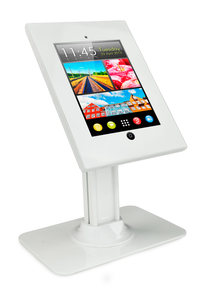 Secure iPad Enclosure Counter-top Kiosk, Fits all iPad 9.7 inch, White - MI-3771