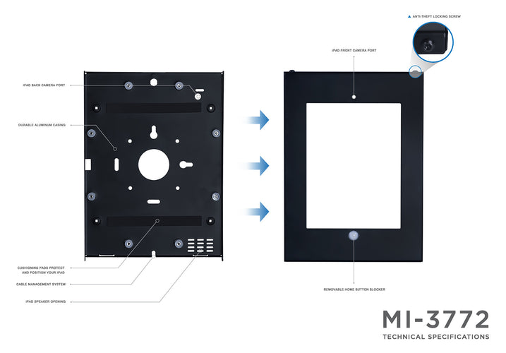 Secure iPad Wall Mount Enclosure  | MI-3772 2