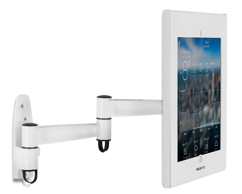 Secure iPad Enclosure Swing Arm Wall Mount, Fits iPad Pro 12.9, White - MI-3774W-XL