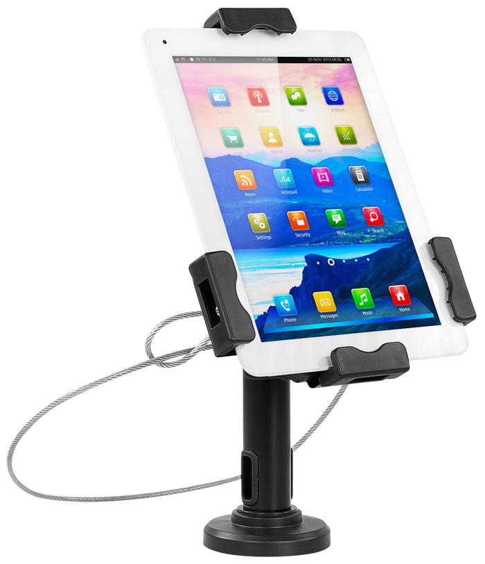 "Secure Universal Tablet Retail Kiosk With Cable Lock, Fits 7.9""- 10.5"" Tablets, Black - MI-3784"
