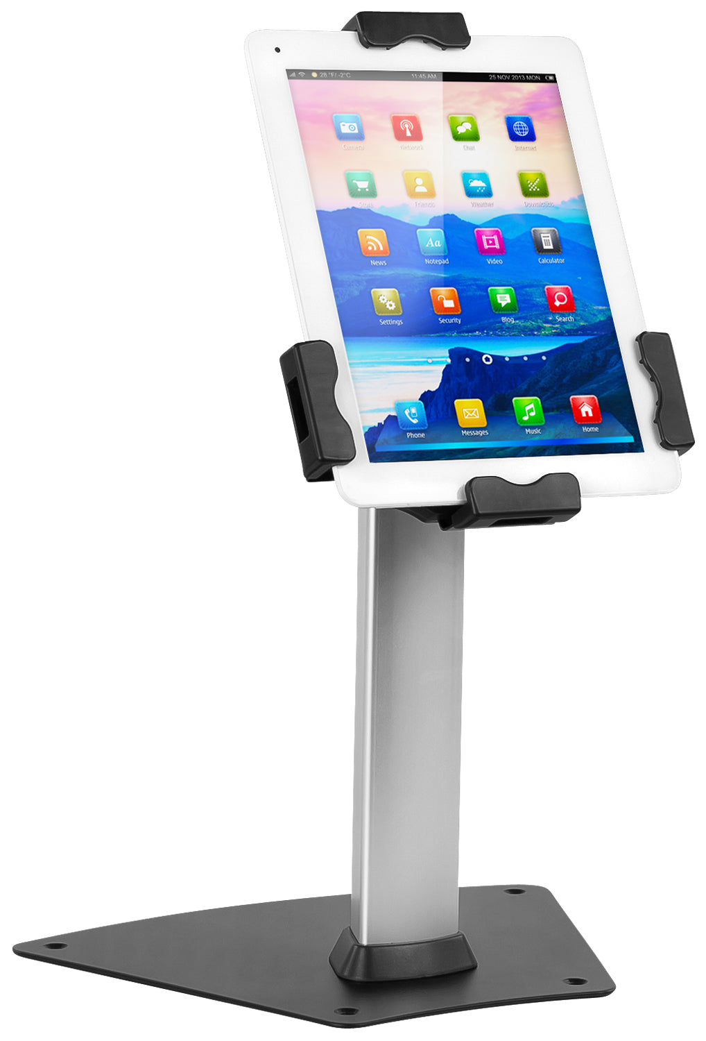 "Secure Universal Tablet Kiosk With Freestanding Base and Cable Lock, Fits 7.9""- 10.5"" Tablets, Black - MI-3785"