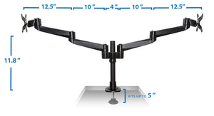 Mount-It! Dual Computer Monitor Mount, Fits 20-27 Inch Screens, Black– MI-43111B - Mount-It!