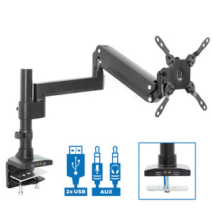 Single Monitor Desk Mount w/ USB and Multimedia Ports | MI-4771