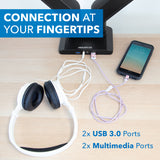 Dual Monitor Desk Mount w/ USB & Multimedia Ports | MI-4772
