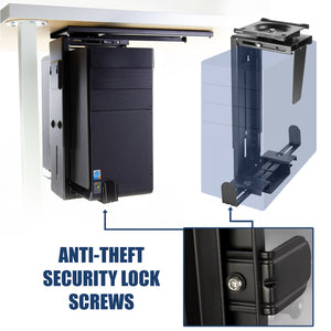 Mount-It! CPU Under Desk Mount Computer Tower Holder Anti-Theft - MI-7156