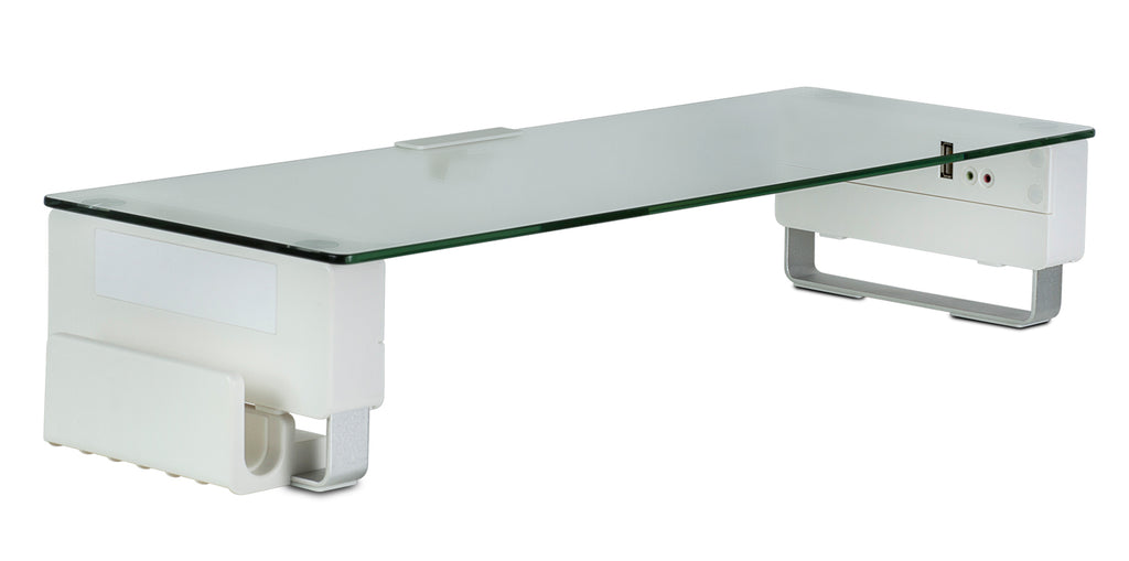 Mount-It! Tempered Glass & Aluminum Monitor Stand with USB - MI-7265 - Mount-It!