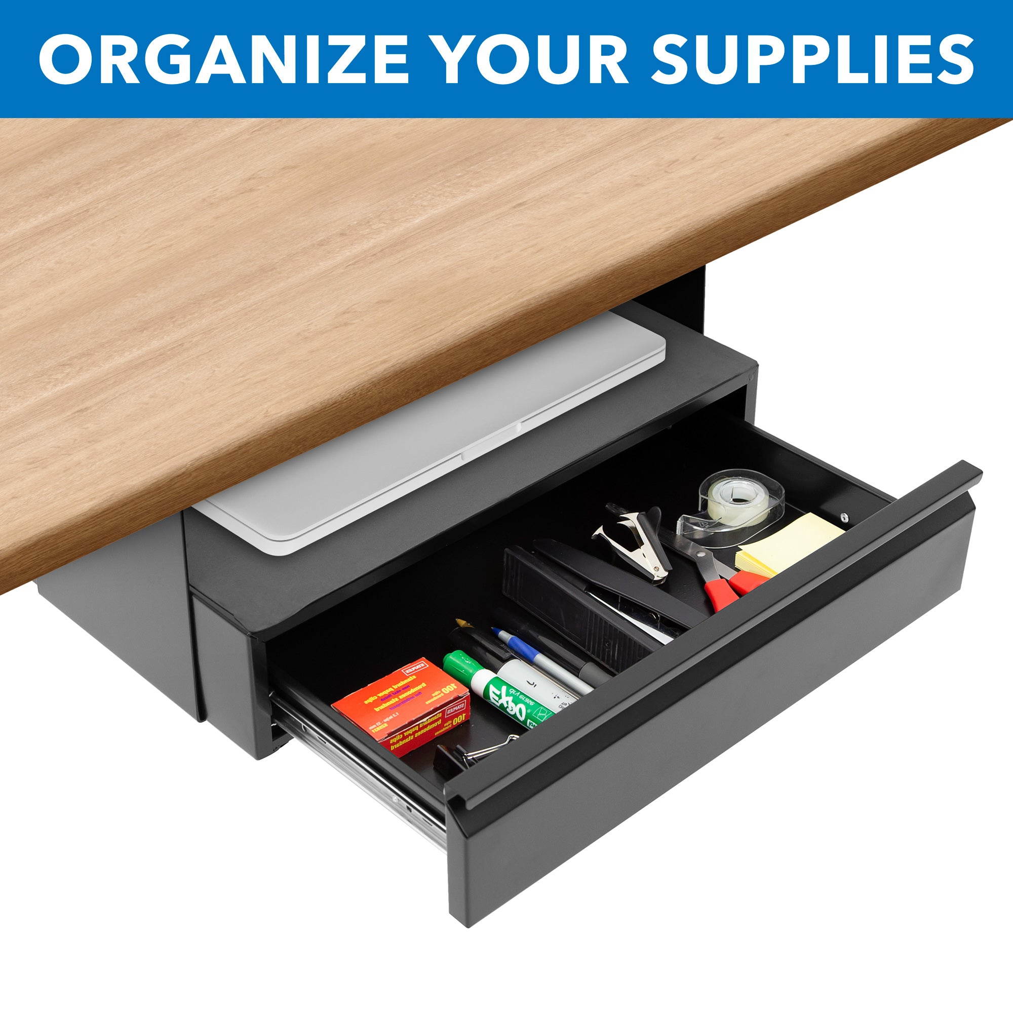 Under Desk Pull Out Drawer Kit With Shelf Mi 7291 Mount It