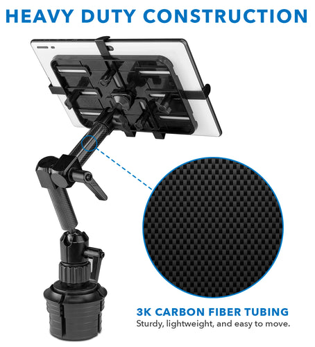 Carbon Fiber Cup Holder Tablet ELD Mount | MI-7321 2