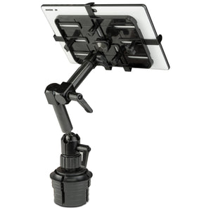 "Carbon Fiber Cup Holder Tablet ELD Mount, Vehicle Cup Holder Stand, Fits 7"" - 11"" Tablets - MI-7321"