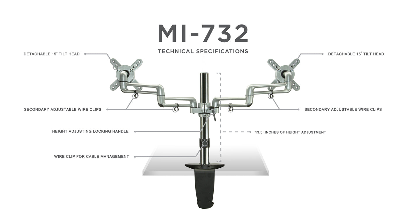 Dual Monitor Desk Mount With Full Motion Arms MI-732