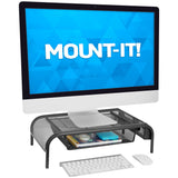 Metal Mesh Monitor Stand w/ Pull Out Drawer | MI-7360