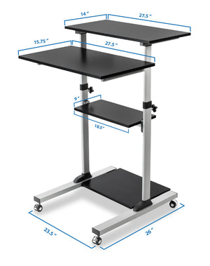 Mount-It! Height Adjustable Rolling Stand up Desk - MI-7940 - Mount-It!