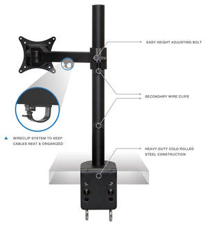 Mount-It! Short Head Single Monitor Desk Mount - MI-10750 - Mount-It!