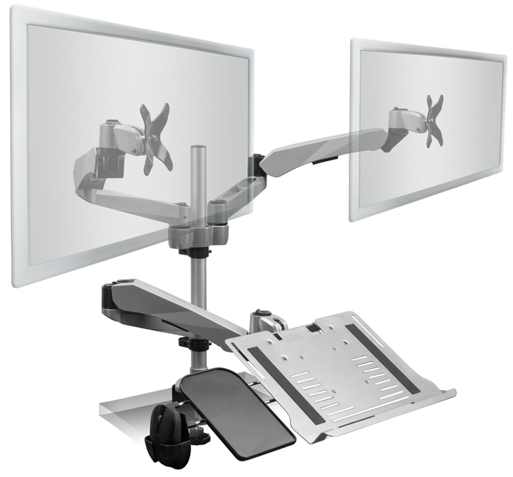 Mount-It! Articulating Dual Monitor Mount w/Vented Laptop Tray - MI-75921 - Mount-It!