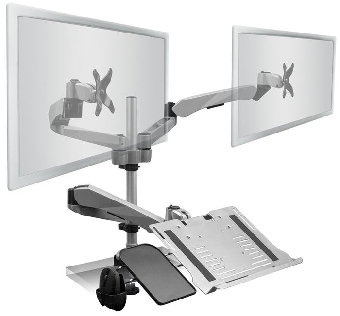 Mount-It! Articulating Dual Monitor Mount w/Vented Laptop Tray - MI-75921