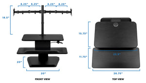 Mount-It! Dual Monitor Sit Stand Desk Converter - MI-7914 - Mount-It!