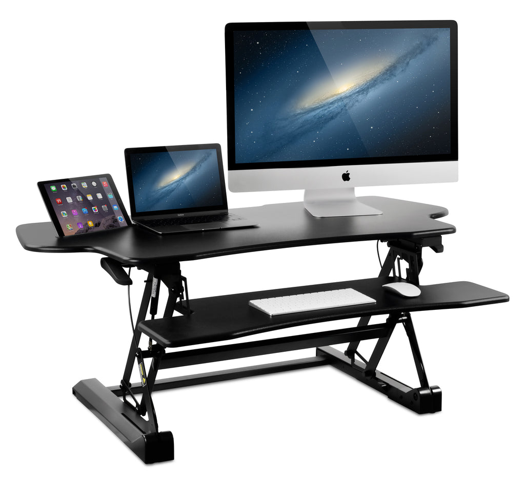 Mount-It! Wide Standing Desk, Height Adjustable Sit-Stand Desk Converter 48 Inch Extra Wide-MI-7961 - Mount-It!