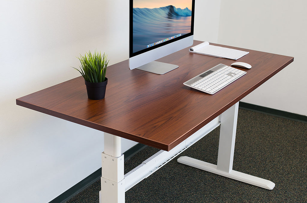 Mount-It! Electric Sit Stand Desk with Brown Tabletop – MI-7974 - Mount-It!