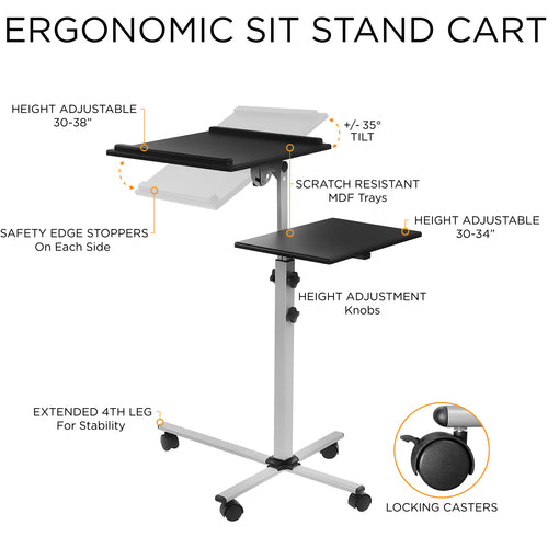 Rolling Laptop Tray & Projector Cart | MI-7945 2