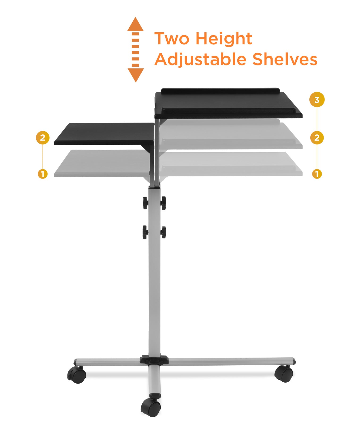 Rolling Laptop Tray and Projector Cart MI-7945 Mount-It Height Adjustable Presentation Cart with wheels
