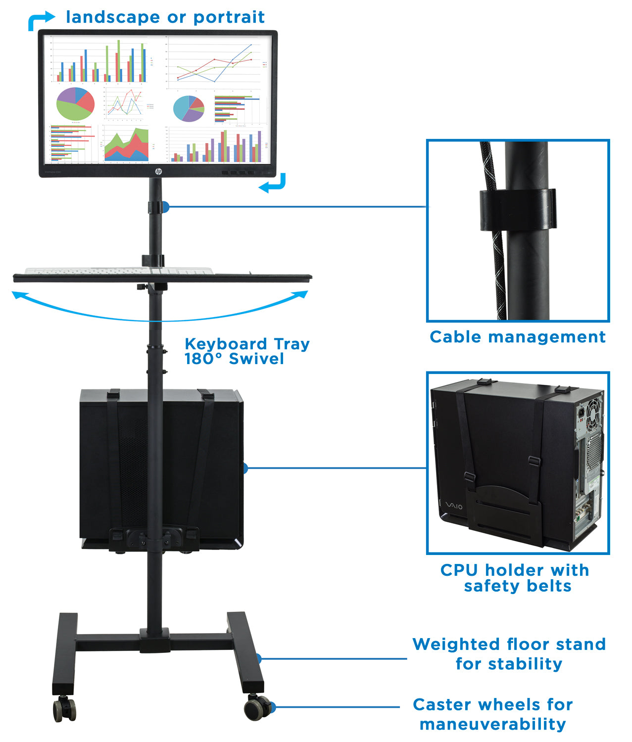 Mobile Cart With Monitor Mount Cpu Holder Mi 7948 Mount It