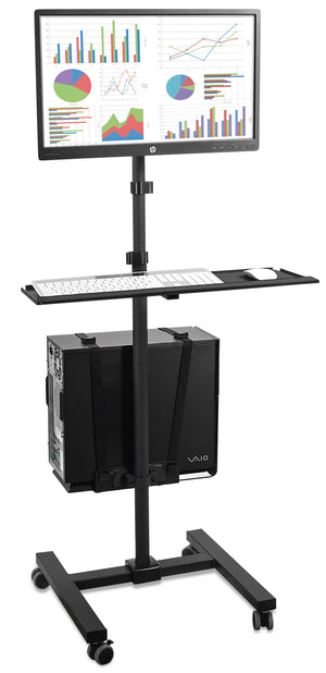 Mount-It! Computer Mobile Monitor Cart With CPU Holder – MI-7948 - Mount-It!