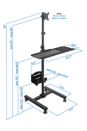 Mount-It! Computer Mobile Monitor Cart With CPU Holder – MI-7948