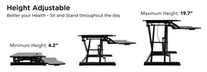 "Mount-It! Sit Stand Desk Converter For Dual Monitors 37"" Wide-MI-7954 - Mount-It!"