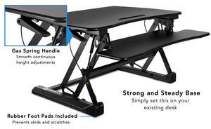 Mount-It! Standing Desk Sit-Stand Desk Converter Height Adjustable, Large Surface Area-MI-7955 - Mount-It!
